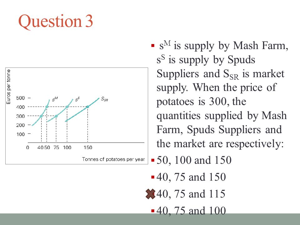 Question 3  s M is supply by Mash Farm, s S is supply by Spuds Suppliers and S SR is market supply.