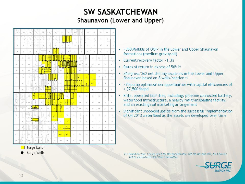 SW SASKATCHEWAN Shaunavon (Lower and Upper) >350 MMbbls of OOIP in the Lower and Upper Shaunavon formations (medium gravity oil) Current recovery fact