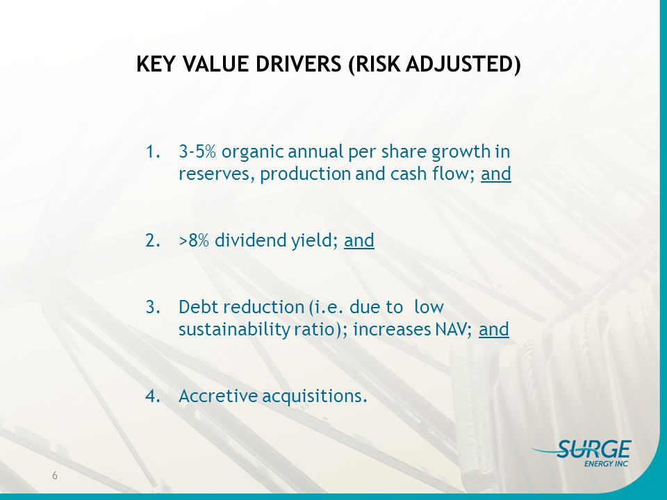KEY VALUE DRIVERS (RISK ADJUSTED) 1.3-5% organic annual per share growth in reserves, production and cash flow; and 2.>8% dividend yield; and 3.Debt r