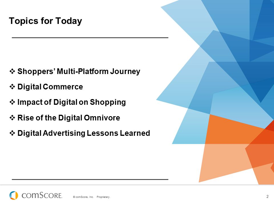 © comScore, Inc. Proprietary. 2 Topics for Today  Shoppers' Multi-Platform Journey  Digital Commerce  Impact of Digital on Shopping  Rise of the D