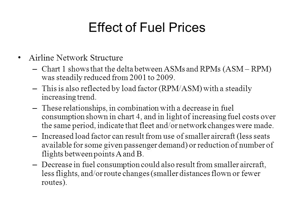Effect of Fuel Prices Airline Network Structure – Chart 1 shows that the delta between ASMs and RPMs (ASM – RPM) was steadily reduced from 2001 to 200