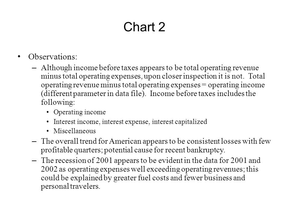 Observations: – Although income before taxes appears to be total operating revenue minus total operating expenses, upon closer inspection it is not. T