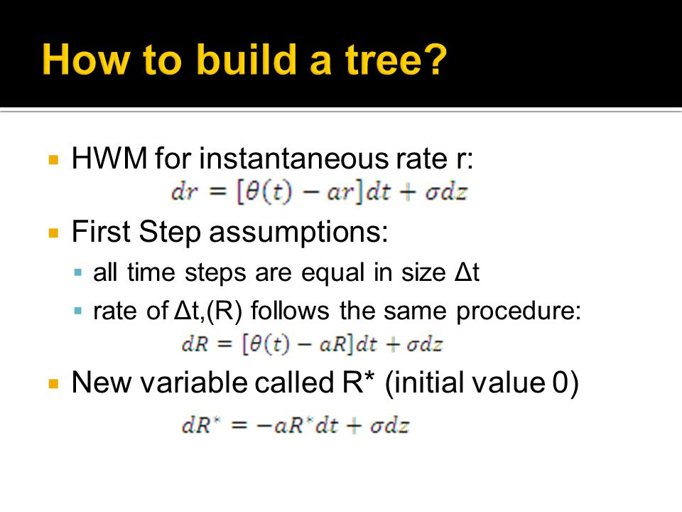  HWM for instantaneous rate r:  First Step assumptions:  all time steps are equal in size Δt  rate of Δt,(R) follows the same procedure:  New variable called R* (initial value 0)