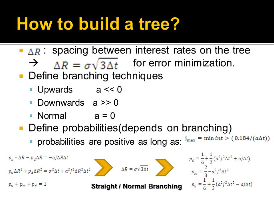  : spacing between interest rates on the tree  for error minimization.