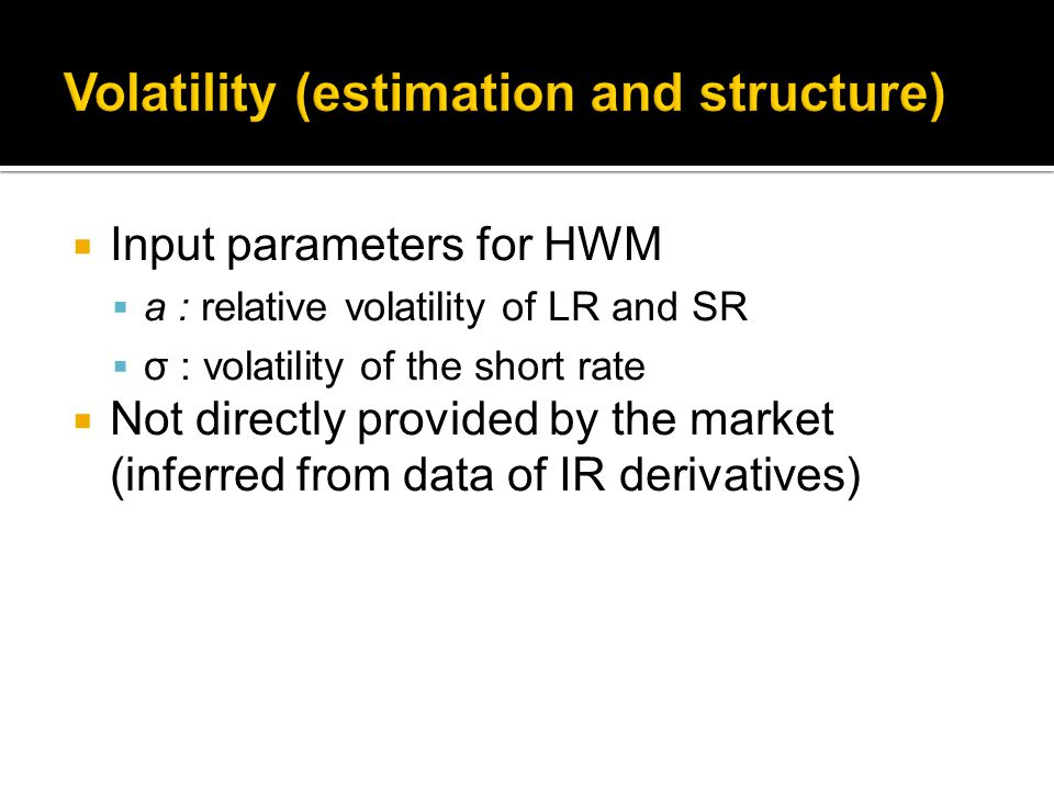  Input parameters for HWM  a : relative volatility of LR and SR  σ : volatility of the short rate  Not directly provided by the market (inferred from data of IR derivatives)