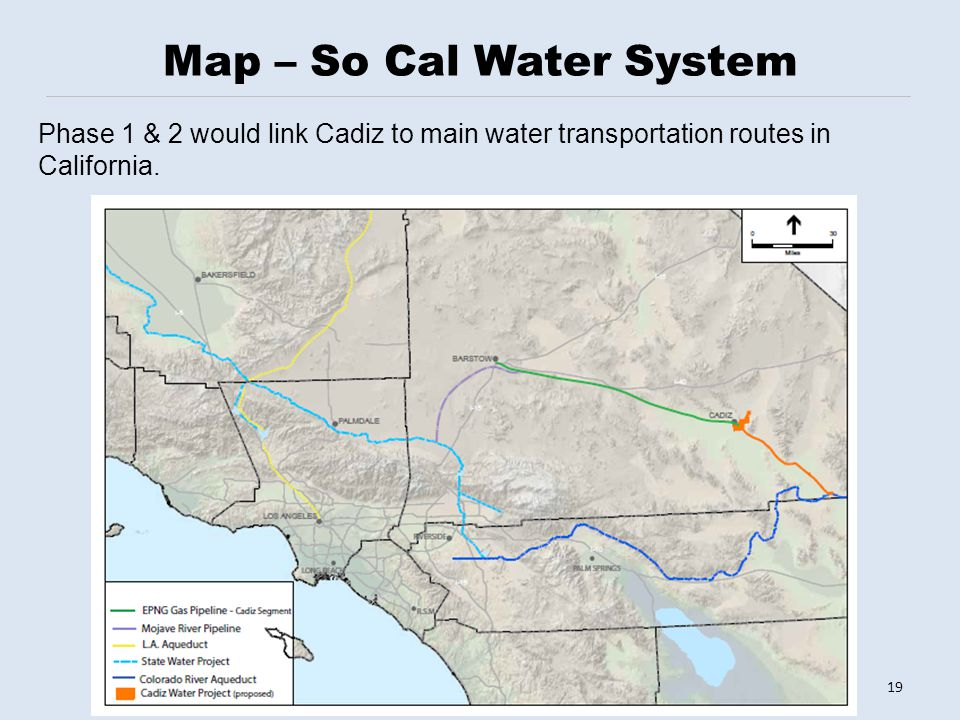 Map – So Cal Water System 19 Phase 1 & 2 would link Cadiz to main water transportation routes in California.