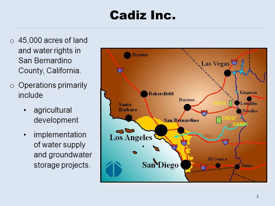 CADIZ CRA DANBY PIUTE Cadiz Inc.