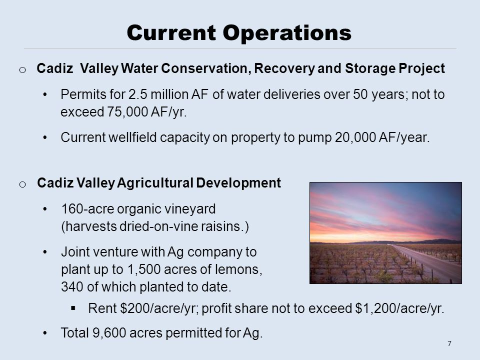 o Cadiz Valley Agricultural Development 160-acre organic vineyard (harvests dried-on-vine raisins.) Joint venture with Ag company to plant up to 1,500 acres of lemons, 340 of which planted to date.