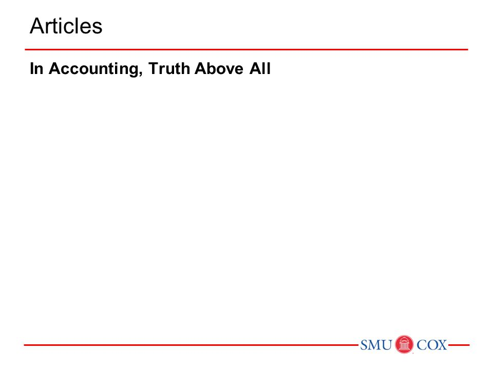Articles In Accounting, Truth Above All