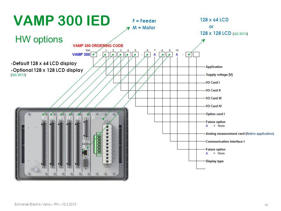 Schneider Electric 14 - Vamp – PH – 12.2.2013 VAMP 300 IED 128 x 64 LCD or 128 x 128 LCD (Q3/2013) -Default 128 x 64 LCD display -Optional 128 x 128 L