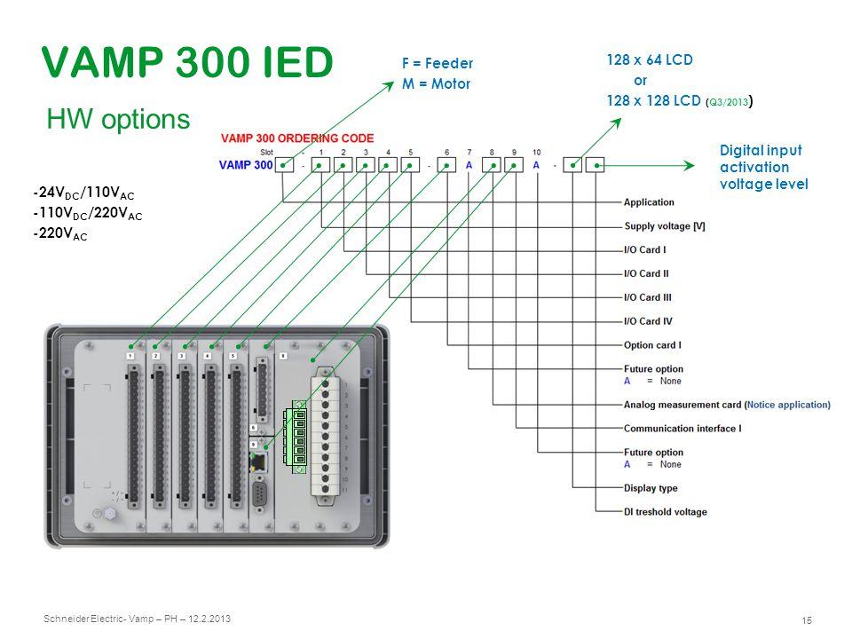 Schneider Electric 15 - Vamp – PH – 12.2.2013 VAMP 300 IED 128 x 64 LCD or 128 x 128 LCD (Q3/2013 ) Digital input activation voltage level F = Feeder