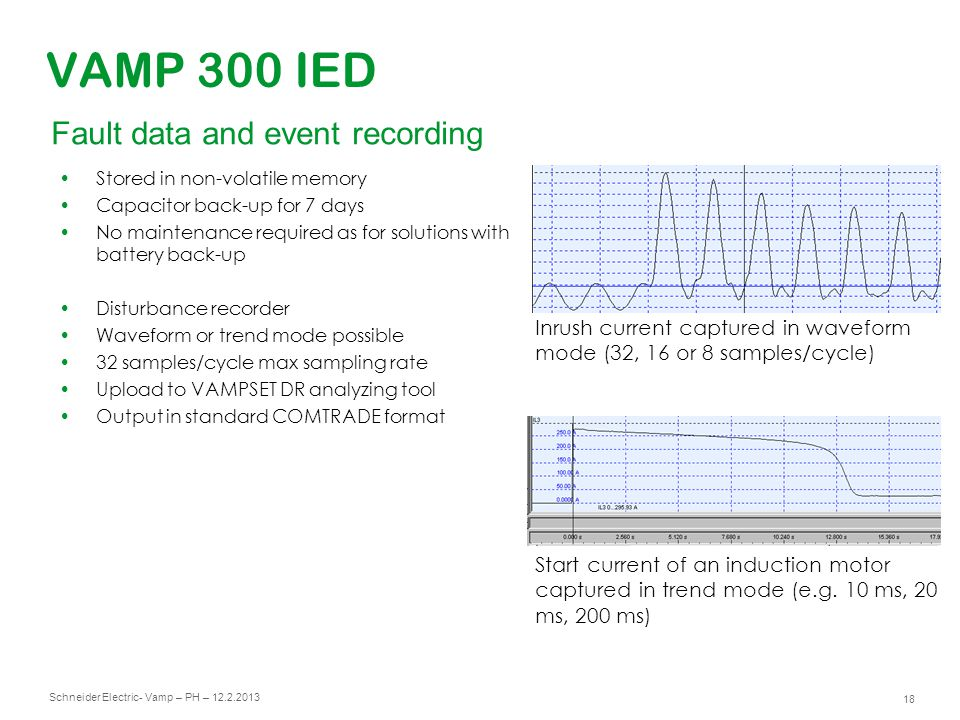 Schneider Electric 19 - Vamp – PH – 12.2.2013 VAMP 300 IED Virtual measurement and fault data injection Possibility to create virtual current and voltage injection with harmonics and phase shift Possible to do disturbance recorder playbacks