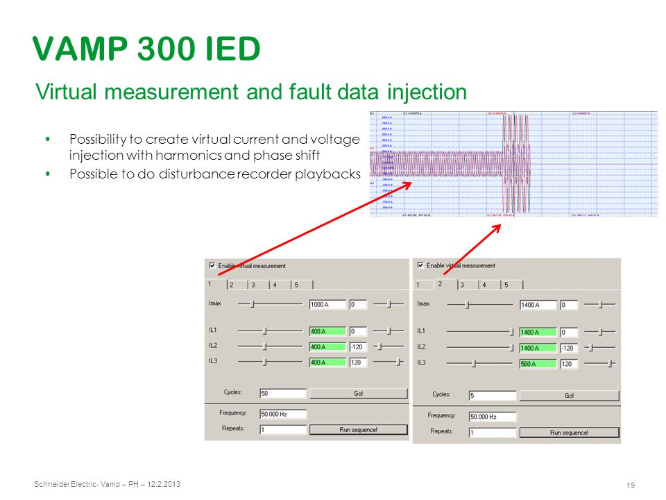 Schneider Electric 19 - Vamp – PH – 12.2.2013 VAMP 300 IED Virtual measurement and fault data injection Possibility to create virtual current and volt