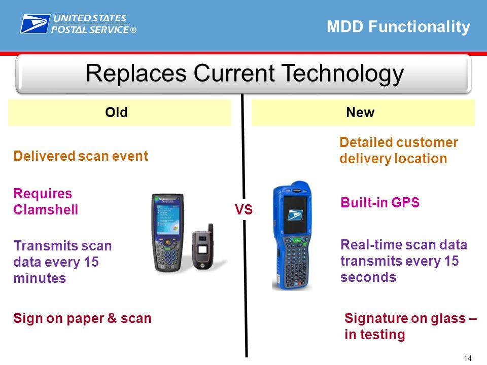 ® Real-time scan data transmits every 15 seconds Replaces Current Technology Built-in GPS MDD Functionality Signature on glass – in testing Detailed customer delivery location 14 Sign on paper & scan Requires Clamshell Transmits scan data every 15 minutes Delivered scan event OldNew VS