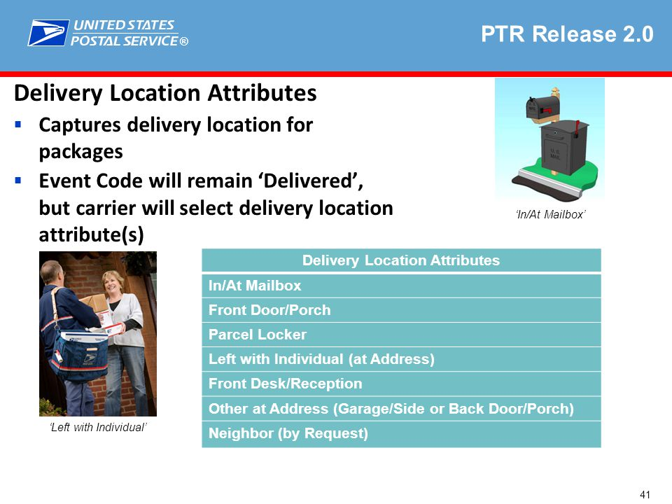 ® Delivery Location Attributes  Captures delivery location for packages  Event Code will remain 'Delivered', but carrier will select delivery location attribute(s) 'Left with Individual' 'In/At Mailbox' PTR Release 2.0 Delivery Location Attributes In/At Mailbox Front Door/Porch Parcel Locker Left with Individual (at Address) Front Desk/Reception Other at Address (Garage/Side or Back Door/Porch) Neighbor (by Request) 41