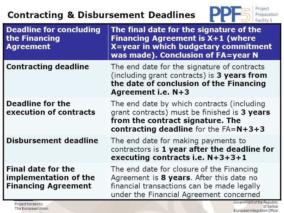 Project funded by The European Union Government of the Republic of Serbia European Integration Office Contracting & Disbursement Deadlines Deadline for concluding the Financing Agreement The final date for the signature of the Financing Agreement is X+1 (where X=year in which budgetary commitment was made).