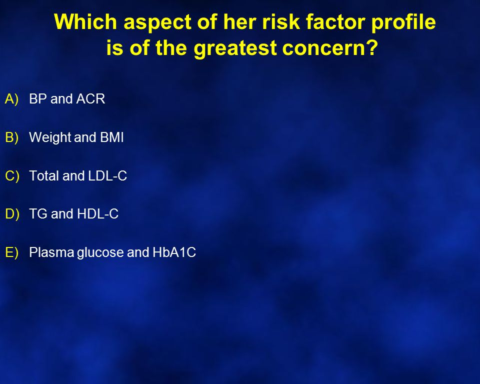 Which aspect of her risk factor profile is of the greatest concern? A)BP and ACR B)Weight and BMI C)Total and LDL-C D)TG and HDL-C E)Plasma glucose an