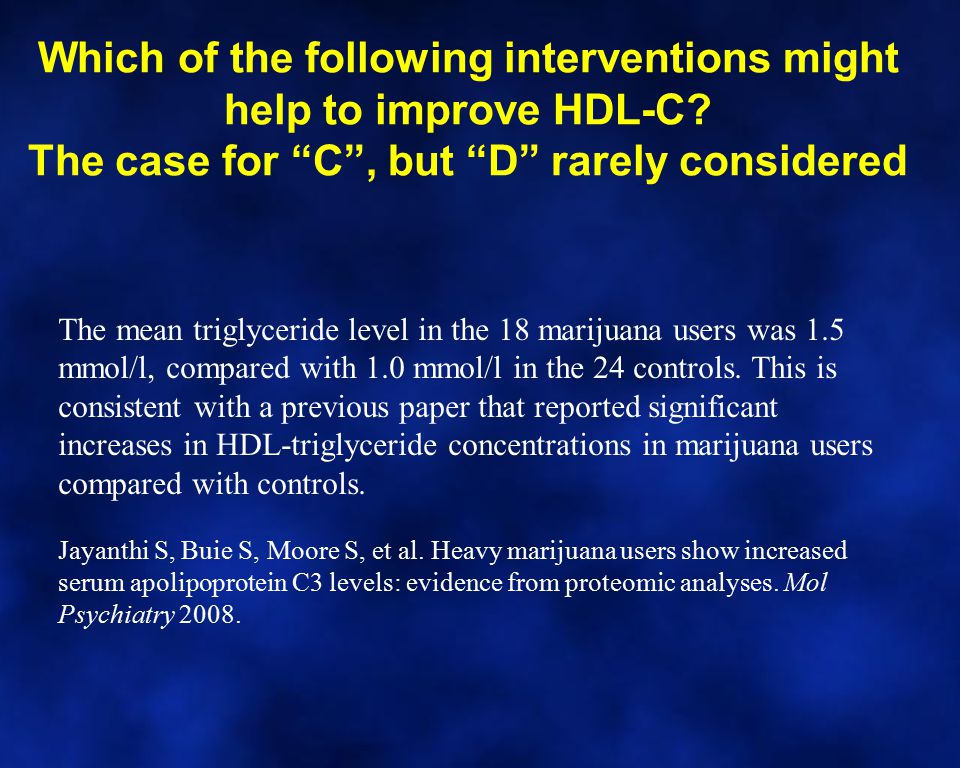 "Which of the following interventions might help to improve HDL-C? The case for ""C"", but ""D"" rarely considered The mean triglyceride level in the 18 ma"