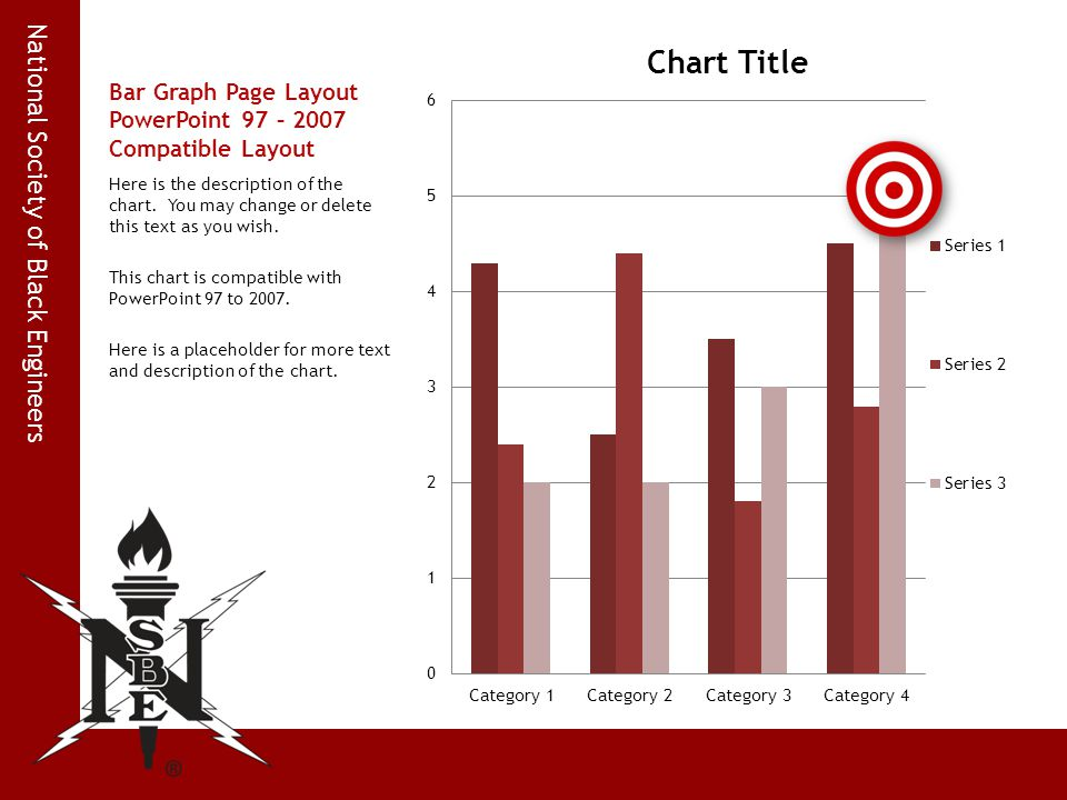 National Society of Black Engineers Bar Graph Page Layout PowerPoint 97 – 2007 Compatible Layout Here is the description of the chart. You may change