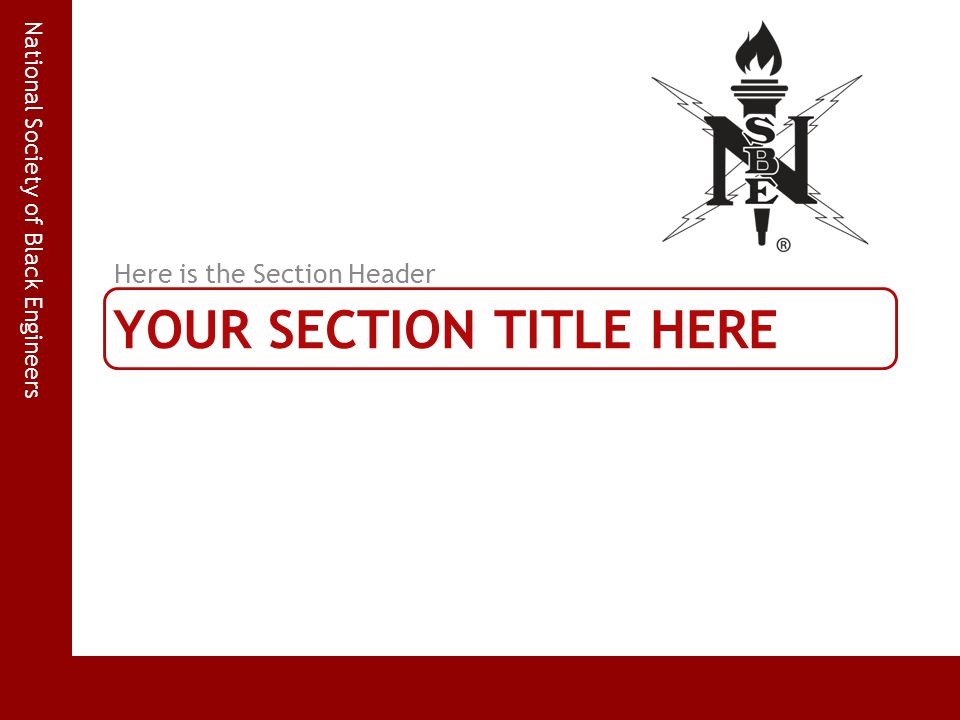 National Society of Black Engineers YOUR SECTION TITLE HERE Here is the Section Header