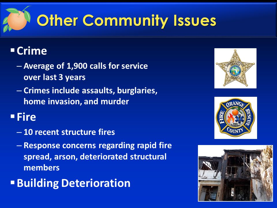 Other Community Issues  Crime – Average of 1,900 calls for service over last 3 years – Crimes include assaults, burglaries, home invasion, and murder