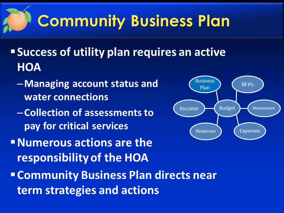 Community Business Plan  Success of utility plan requires an active HOA – Managing account status and water connections – Collection of assessments to pay for critical services  Numerous actions are the responsibility of the HOA  Community Business Plan directs near term strategies and actions Income Business Plan RFPs Maintenance Expenses Reserves Budget