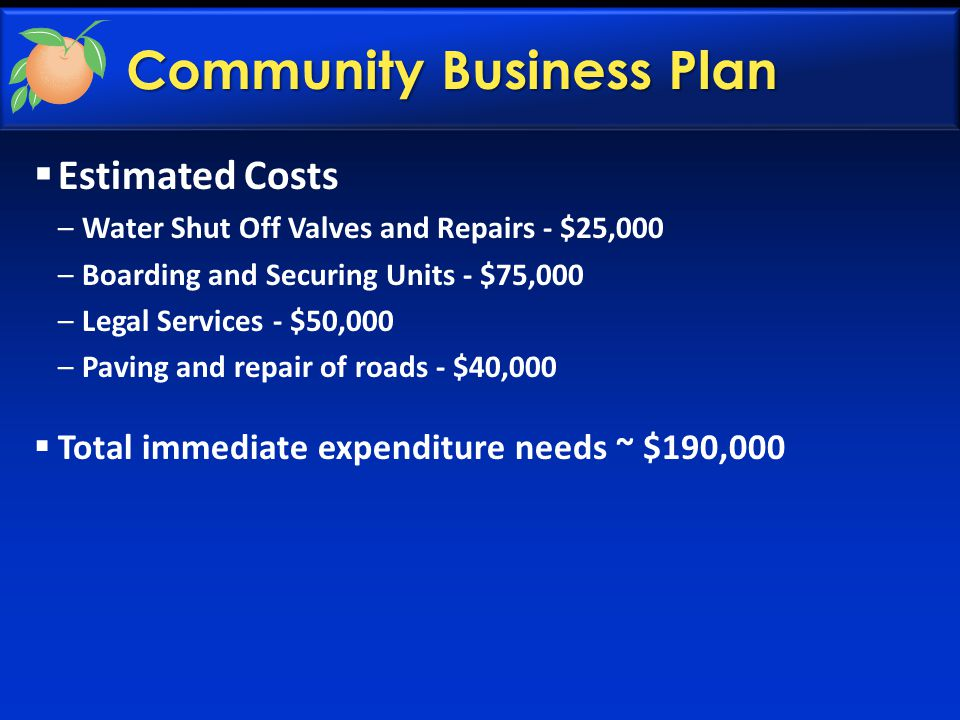 Community Business Plan  Estimated Costs –Water Shut Off Valves and Repairs - $25,000 –Boarding and Securing Units - $75,000 –Legal Services - $50,000 –Paving and repair of roads - $40,000  Total immediate expenditure needs ~ $190,000