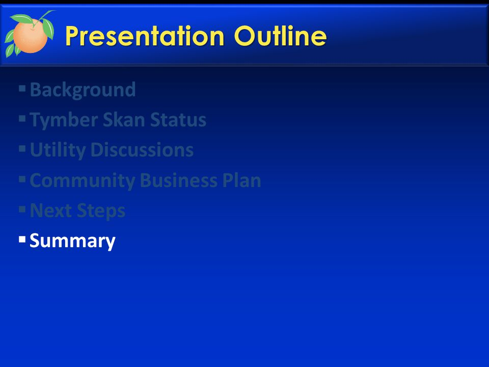Presentation Outline  Background  Tymber Skan Status  Utility Discussions  Community Business Plan  Next Steps  Summary
