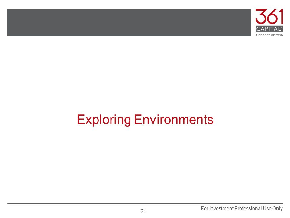 Exploring Environments For Investment Professional Use Only 21