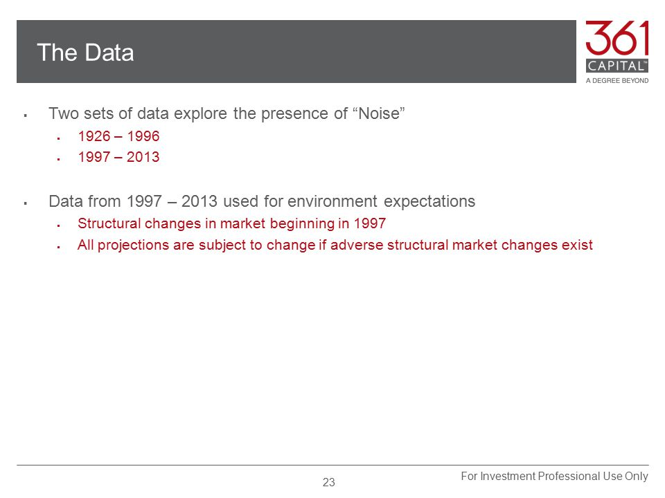 The Data  Two sets of data explore the presence of Noise  1926 – 1996  1997 – 2013  Data from 1997 – 2013 used for environment expectations  Structural changes in market beginning in 1997  All projections are subject to change if adverse structural market changes exist 23 For Investment Professional Use Only