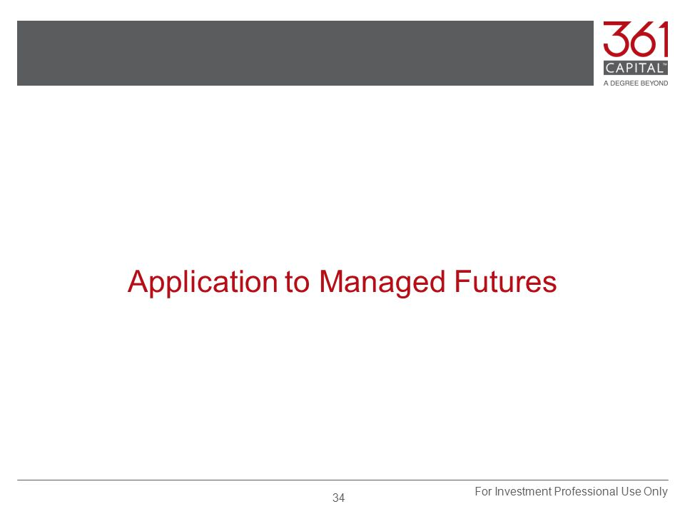 Application to Managed Futures For Investment Professional Use Only 34