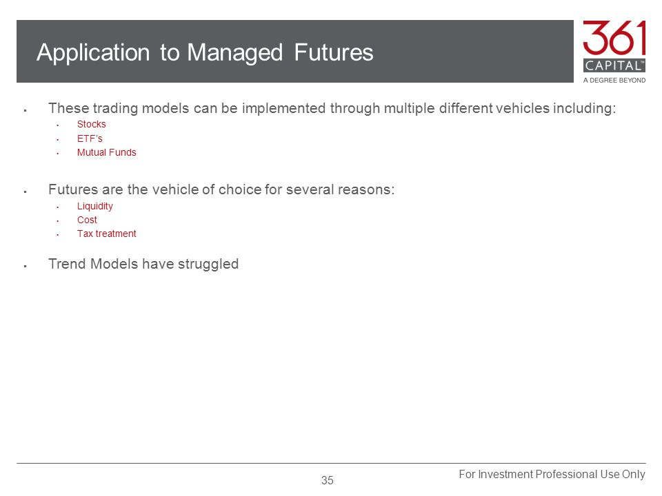Application to Managed Futures  These trading models can be implemented through multiple different vehicles including:  Stocks  ETF's  Mutual Funds  Futures are the vehicle of choice for several reasons:  Liquidity  Cost  Tax treatment  Trend Models have struggled 35 For Investment Professional Use Only