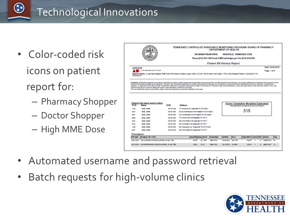 Technological Innovations Color-coded risk icons on patient report for: – Pharmacy Shopper – Doctor Shopper – High MME Dose Automated username and pas