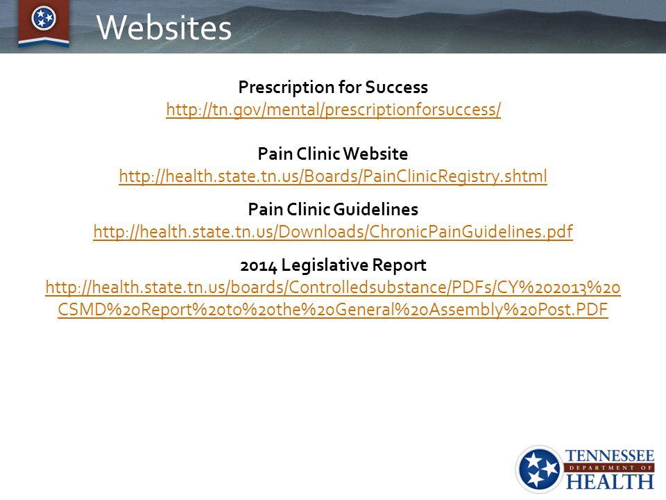 Websites Prescription for Success http://tn.gov/mental/prescriptionforsuccess/ Pain Clinic Website http://health.state.tn.us/Boards/PainClinicRegistry