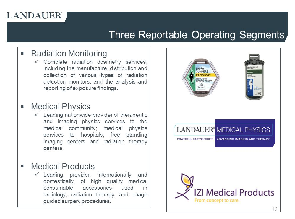 10 Three Reportable Operating Segments  Radiation Monitoring Complete radiation dosimetry services, including the manufacture, distribution and colle