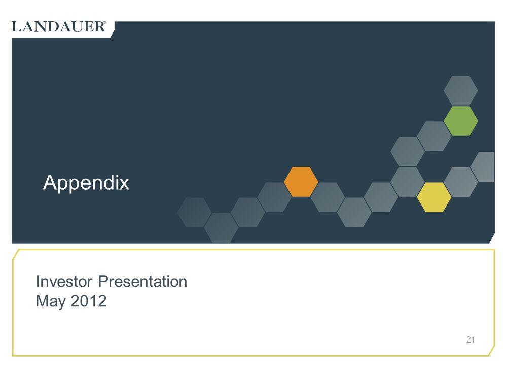 Appendix 21 Investor Presentation May 2012