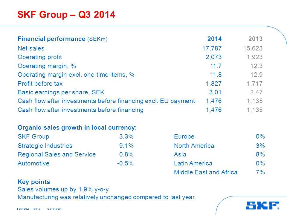 © SKF Group 15 October 2014 SKF Group – Q3 2014 Slide 8 Financial performance (SEKm) 20142013 Net sales17,78715,623 Operating profit2,0731,923 Operati