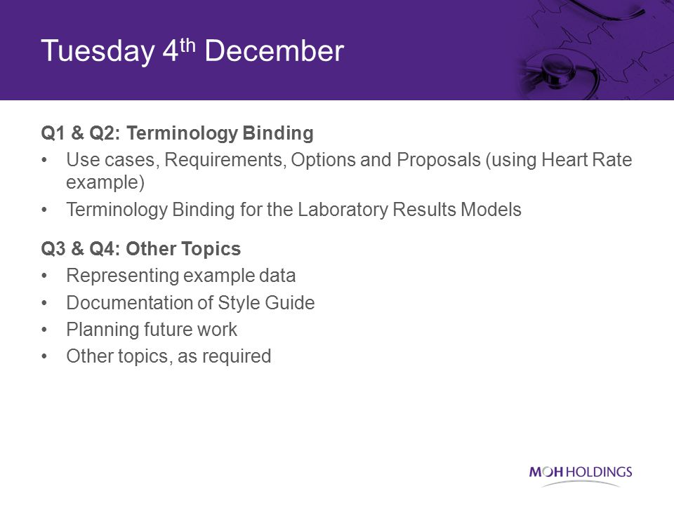 Tuesday 4 th December Q1 & Q2: Terminology Binding Use cases, Requirements, Options and Proposals (using Heart Rate example) Terminology Binding for the Laboratory Results Models Q3 & Q4: Other Topics Representing example data Documentation of Style Guide Planning future work Other topics, as required