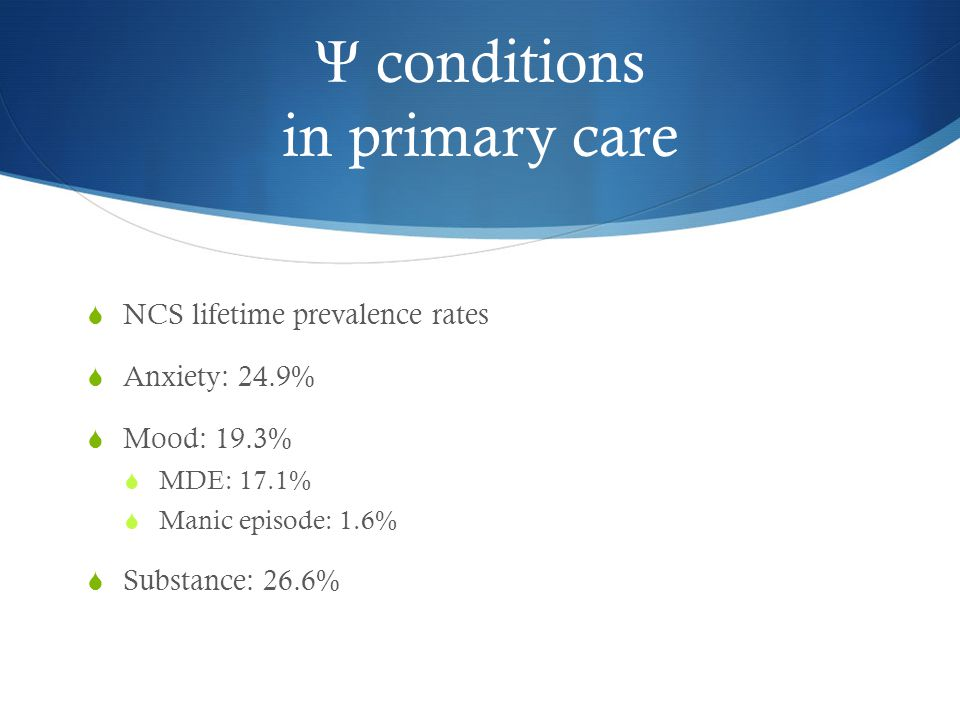 Ψ conditions in primary care  NCS lifetime prevalence rates  Anxiety: 24.9%  Mood: 19.3%  MDE: 17.1%  Manic episode: 1.6%  Substance: 26.6%