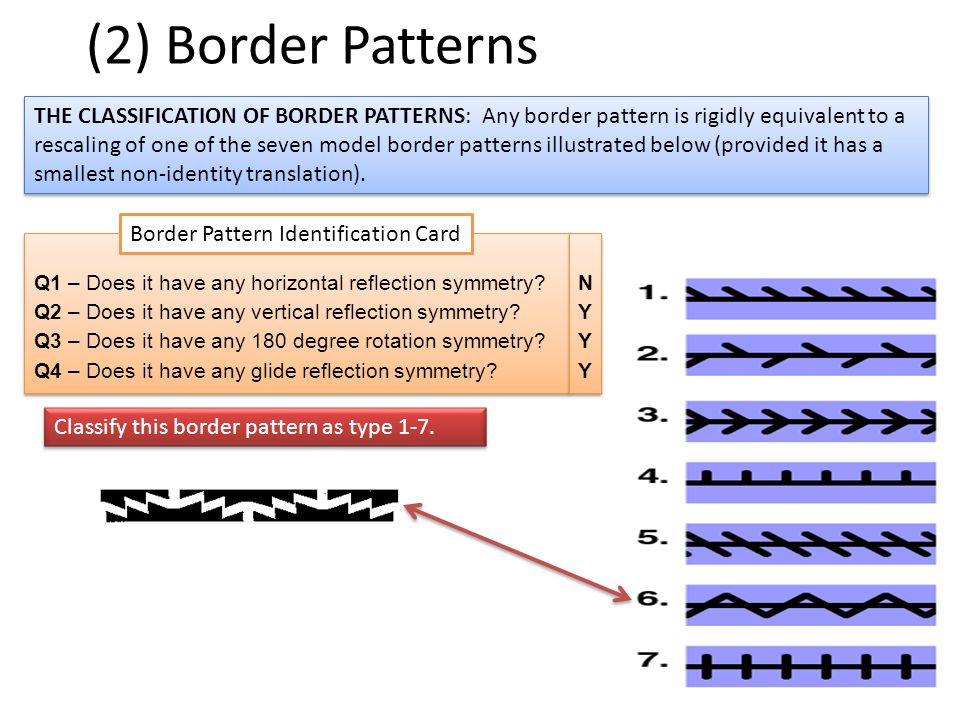 (2) Border Patterns THE CLASSIFICATION OF BORDER PATTERNS: Any border pattern is rigidly equivalent to a rescaling of one of the seven model border pa