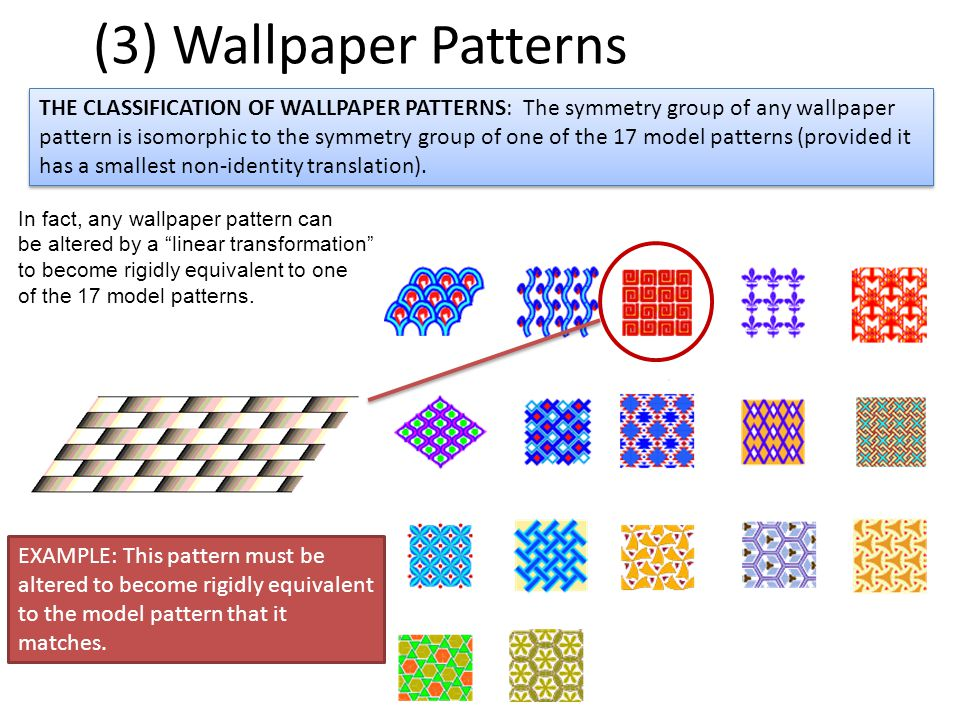 (3) Wallpaper Patterns THE CLASSIFICATION OF WALLPAPER PATTERNS: The symmetry group of any wallpaper pattern is isomorphic to the symmetry group of one of the 17 model patterns (provided it has a smallest non-identity translation).
