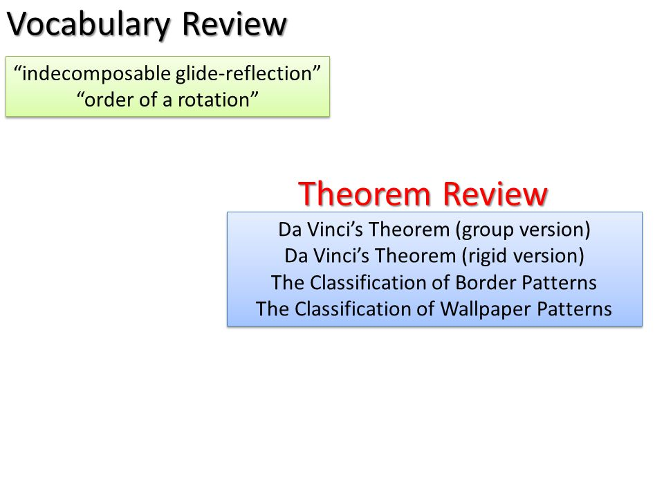 "Vocabulary Review ""indecomposable glide-reflection"" ""order of a rotation"" ""indecomposable glide-reflection"" ""order of a rotation"" Theorem Review Da Vi"