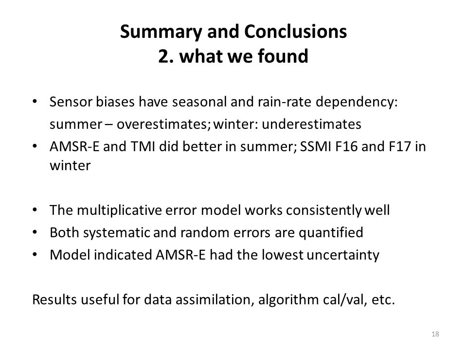 Summary and Conclusions 2.