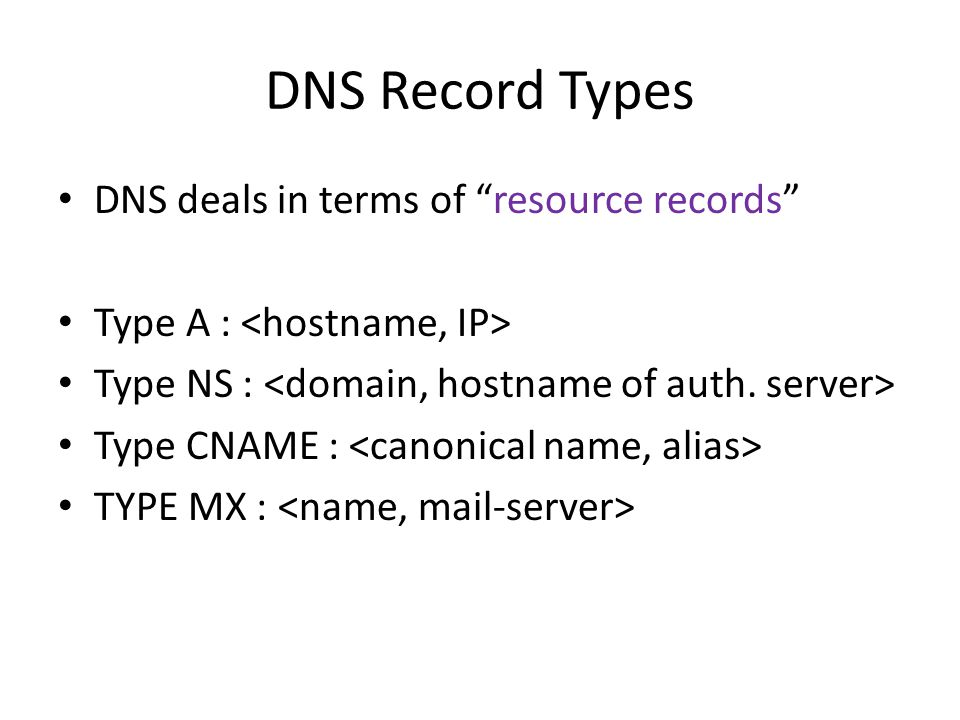 DNS Record Types DNS deals in terms of resource records Type A : Type NS : Type CNAME : TYPE MX :