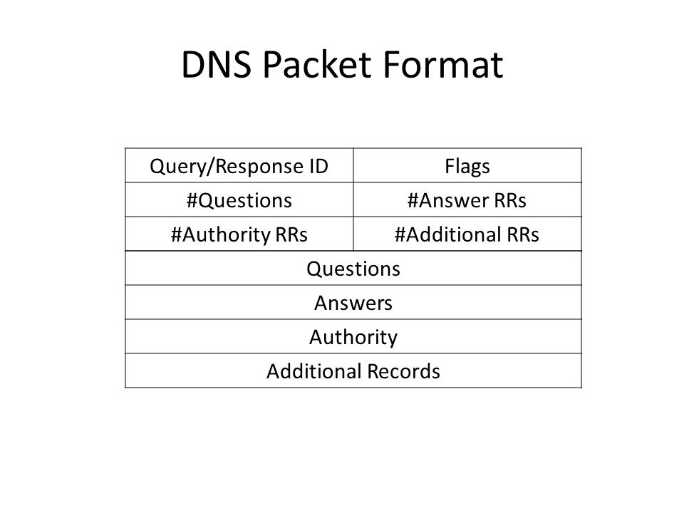 DNS Packet Format Query/Response IDFlags #Questions#Answer RRs #Authority RRs#Additional RRs Questions Answers Authority Additional Records