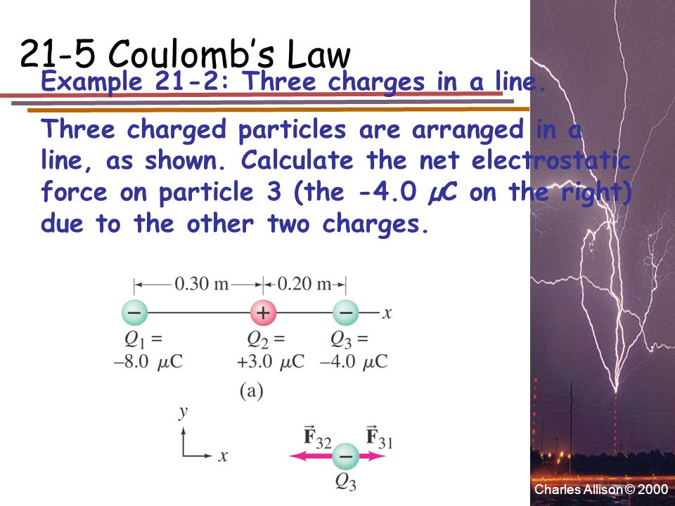 Charles Allison © 2000 21-5 Coulomb's Law Example 21-2: Three charges in a line. Three charged particles are arranged in a line, as shown. Calculate t