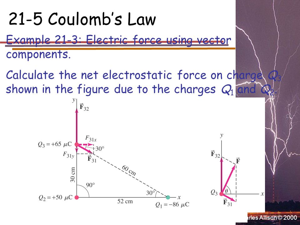 Charles Allison © 2000 21-5 Coulomb's Law Example 21-3: Electric force using vector components.