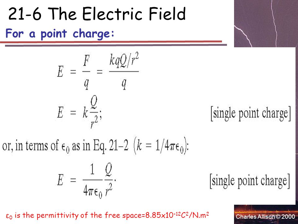 Charles Allison © 2000 For a point charge: 21-6 The Electric Field ε 0 is the permittivity of the free space=8.85x10 -12 C 2 /N.m 2