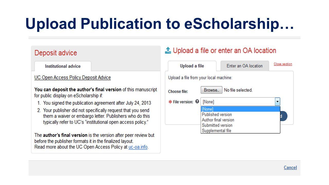Upload Publication to eScholarship…