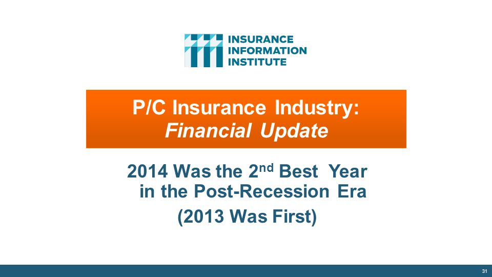 P/C Insurance Industry: Financial Update 2014 Was the 2 nd Best Year in the Post-Recession Era (2013 Was First) 31 P/C Insurance Industry: Financial U